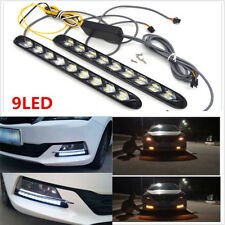 2PC 9LED White/Amber Car Indicator Driving Light Sequential Flowing Signal Lamp