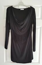 Ladies long sleeve tassel front tunic top in black size 10  by Aniston