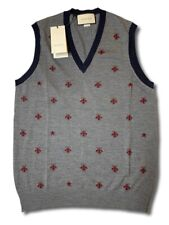 $1,000 Gucci Gray Wool Vest Size Large, Made in Italy