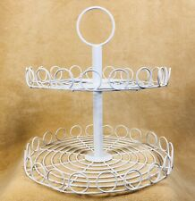 New listing Two Tier Tray White Wire For Displays Or Organization In Home Or Business