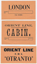 """Shipping Company ORIENT LINE """"Otranto"""" * Set of 3 Luggage Labels Kofferaufkleber"""