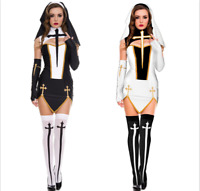 Sexy Nun Womens Cosplay Halloween Costume W/ Stockings Hoodie Adult Fancy Dress