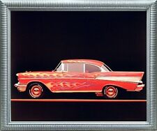 Classic Chevy Bel Air 1957 Vintage Car Wall Decor Silver Framed Picture (20x24)
