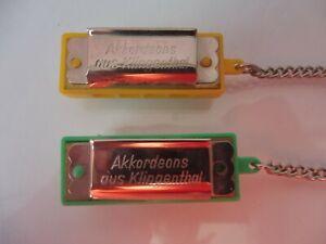 2 vieux Miniature Mundharmonikas, Akkordeons aus Klingthal, Fabriqueen RDA