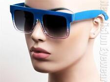 Oversized Flat Top Wayfarer Vintage Style Sunglasses Candy Purple To Blue W48