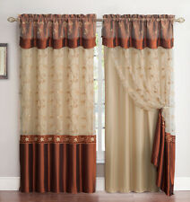 """All-in-One Cinnamon and Gold Window Curtain Drapery Panel Double-Layer 55"""" x 90"""""""