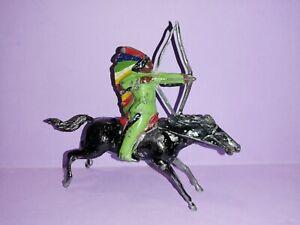 J.F (jouet fondu) plomb militaire # western indien à cheval tirant arc