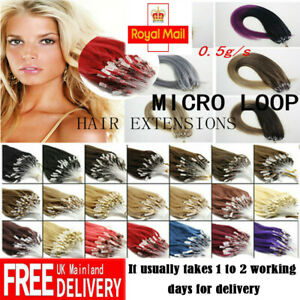 """14""""-26"""" Micro Loop Beads Nano Ring Russian Remy Human Hair Extensions 100s UK"""