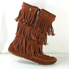 Minnetonka Women's 3 Rows Of Fringe Rust Brown Suede Calf-Length Boots Size 4