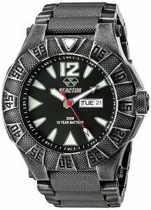 REACTOR Men's 53601 Gamma Analog Display Japanese Quartz Silver & Black Watch