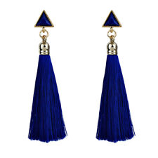 4colors Charm Long Tassel Drop Dangle Earrings Rhinestone Ear Stud Party Jewelry Blue