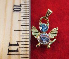 Aqua Aquamarine Cat Angel Charm Pendant 14 Kt Gold Ep Birthstone March