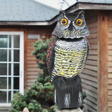 Large Realistic Owl Decoy With Rotating Head Bird Pigeon Crow Scarer Scarecrow
