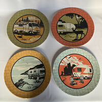 "Retro Vintage Camp Casual Plates RV Camping Camper Melamine Plastic Set of 4/11"""