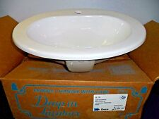 Deca White Bathroom Drop In Oval Sink, Ceramic Self Rimming Basin  20""