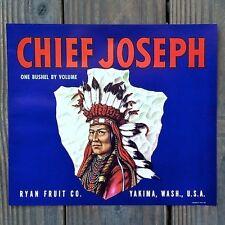 Original 1940s CHIEF JOSEPH APPLE Fruit Crate Box APPLE LABEL Yakima WA NOS