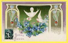 cpa fantaisie relief - art nouveau Bonne Année coccinelle ladybirds embossed