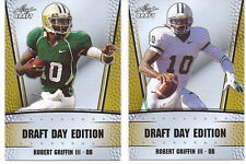 "ROBERT GRIFFIN III ""RG3"" 2012 LEAF DRAFT DAY EDITION GOLD PROMO ROOKIE CARD LOT!"