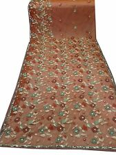 Om Vintage Indian Sari Net Hand Beaded Embroidered Brown Saree Fabric ZA11349
