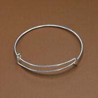 Bulk Lot Silver Expandable Bangle Bracelet Wire Wrap Adjustabl Loop Craft DIY