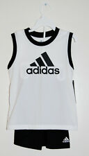 NWT  Little Boys adidas Black & White Logo 2pc Sleeveless Short Set sz 4 5