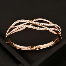 Luxury Design Crystal Hollow Cross Women Bangle Bracelets 18K Rose Gold GP SL314