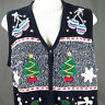 Ugly Christmas Sweater Vest Womens Sz XL Snowlakes Snowmen Mittens Trees