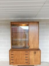 Lane Modern Style Walnut 2 Pc Lighted Top Display Cabinet / Credenza