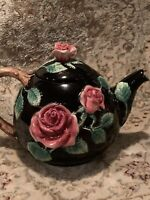 Fitz and Floyd Roses Teapot 1987 Floral Leaves FF Japan