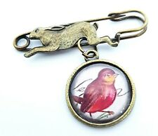 The Fox and the Red Robin Pin Vintage Style Brass Brooch Badge Rabbit Jewellery