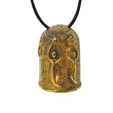 Goddess Tri Moon Bell Pendant Necklace Bronze Brass USA Made Music Wikken