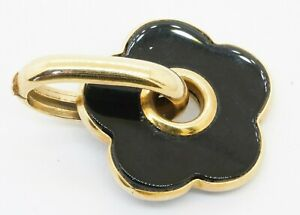 Leuchi & Ceriani Italian designer 18K gold 28.1 X 28.4mm onyx flower pendant