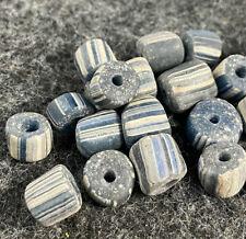10 Old Hudson's Bay Company Striped Glass Trade Beads Chevron Good Patina