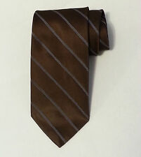 """7th Ave Men's Silk Dress Brown Tie 3"""" wide 57"""" long with stripes"""