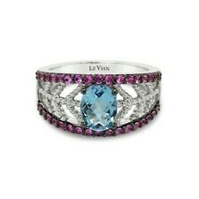 LeVian 14K White Gold Blue Topaz Pink Sapphire Gemstone Classic Cocktail Ring