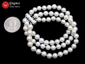 Trendy AAA 6-7mm Round White Akoya Pearl 3 Strands Bracelet Silver Clasp -bra140