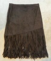 Boston Proper XL Fringe Faux Leather Brown Skirt