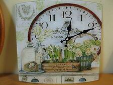Uhr aus Glas mit Blumen 34 cm mal 34 cm 2 kg schwer