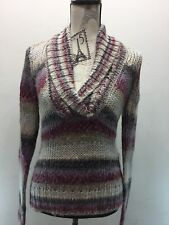 Esprit EDC Women Cable Knit Chunky Cowl Sweater M Cream Purple Red Wool