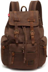 AUGUR Retro Segeltuch Rucksack, Canvas Vintage Rucksack Echtleder Laptop Daypack