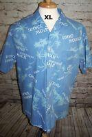 Hilo Hattie Men Shirt XL Blue Palm Trees Hawaiian Tropical Vacation Camp 1980-90