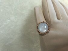MOONSTONE & WHITE TOPAZ 11.75 cttw BOLD STERLING CLAD RING, SIZE 7 (M1125-98)