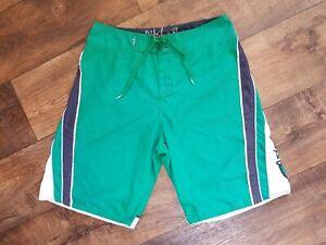 Quiksilver Swim Board Shorts Trunks Green, White, Blue Men's Size 31