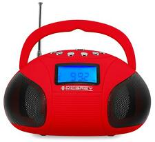 BOOMBOX RADIO PORTABLE HAUT PARLEUR STEREO USB MP3 INTERFACE BLUETOOTH AUX ROUGE