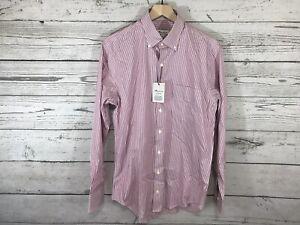 Peter Millar Mens Berry White Striped Soft Stretch Button Shirt Size Medium NWT