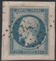 "FRANCE STAMP TIMBRE N° 15 "" NAPOLEON III 25c BLEU 1853"" OBLITERE TB SIGNE CALVES"