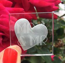 Spaceform Miniature Glass Token Mr & Mr Silver Heart Wedding Keepsake Gift