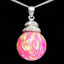 Alducchi Royal Pink Lab Fire Opal /14mm ball/ -CZ .925 Silver Pendant necklace
