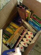 Box of school supplies (rulers, pencils, pens, glue, crayons, etc.) New