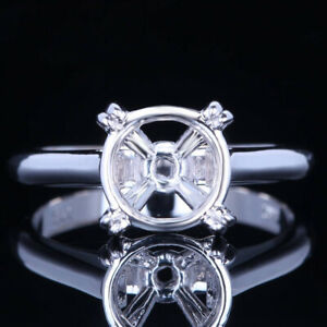 SOLID 14K WHITE GOLD 9MM ROUND SEMI MOUNT ENGAGEMENT WEDDING FINE RING SETTING